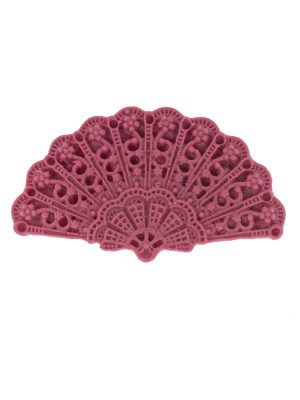 Broche de flamenca abanico de resina color frambuesa