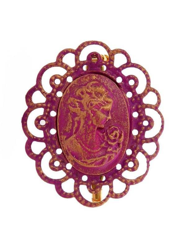 Broche de flamenca camafeo morado con reflejos oro