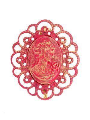 Broche de flamenca camafeo fresa con reflejos oro
