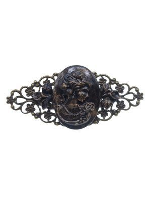 Black cameo flamenco brooch with gold highlights