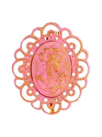 Broche de flamenca camafeo rosa bebé con reflejos oro