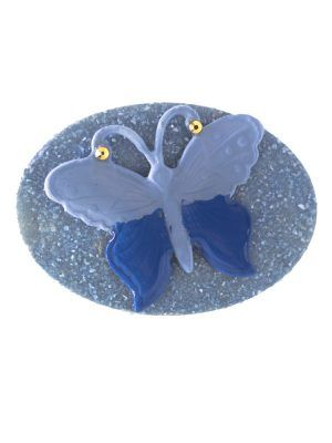 Light blue flamenco brooch with butterfly