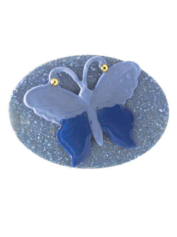 Broche de flamenca celeste con mariposa
