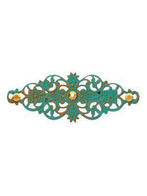 Broche de flamenca con filigrana cyan y reflejos dorados