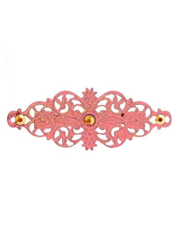 Broche de flamenca con filigrana rosa chicle satinado en oro