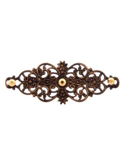 Broche de flamenca con filigrana tono negro satinado en oro