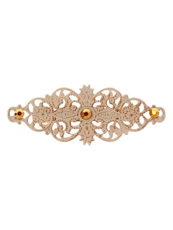 Broche de flamenca con filigrana tono marfil satinado en oro