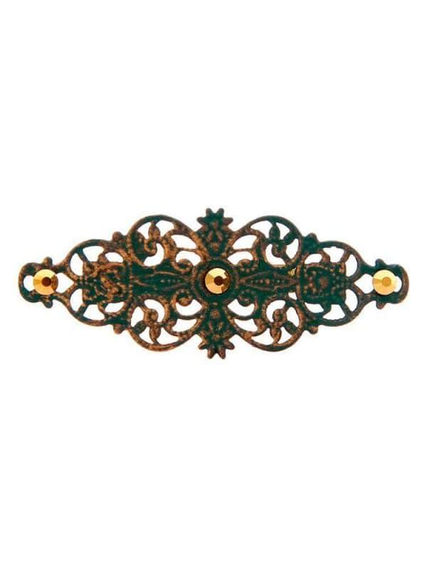 Broche de flamenca con filigrana verde botella satinado en oro