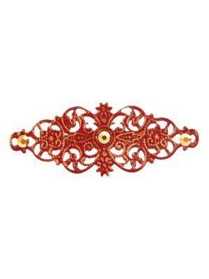 Broche de flamenca con filigrana burdeos satinado en oro