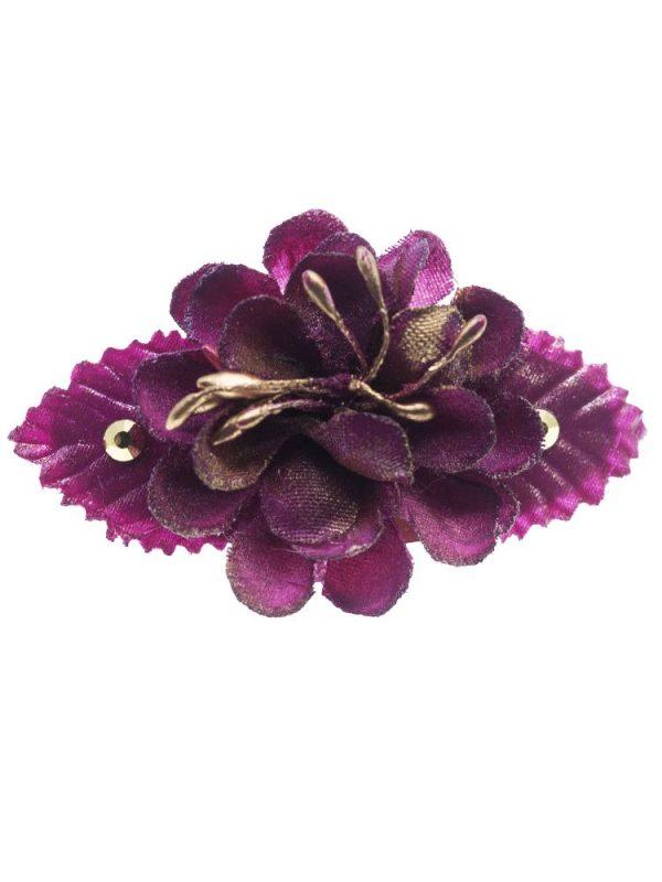 Broche de flamenca con flor de tela buganvilla con reflejo dorado