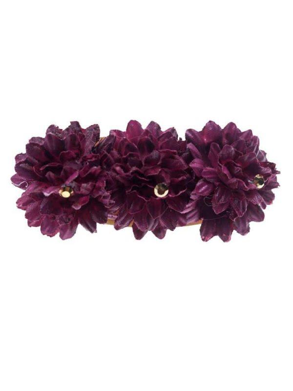 Broche de flamenca con flores de tela buganvilla con reflejo dorado