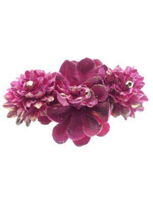Broche de flamenca con flores de tela frambuesa con reflejo dorado
