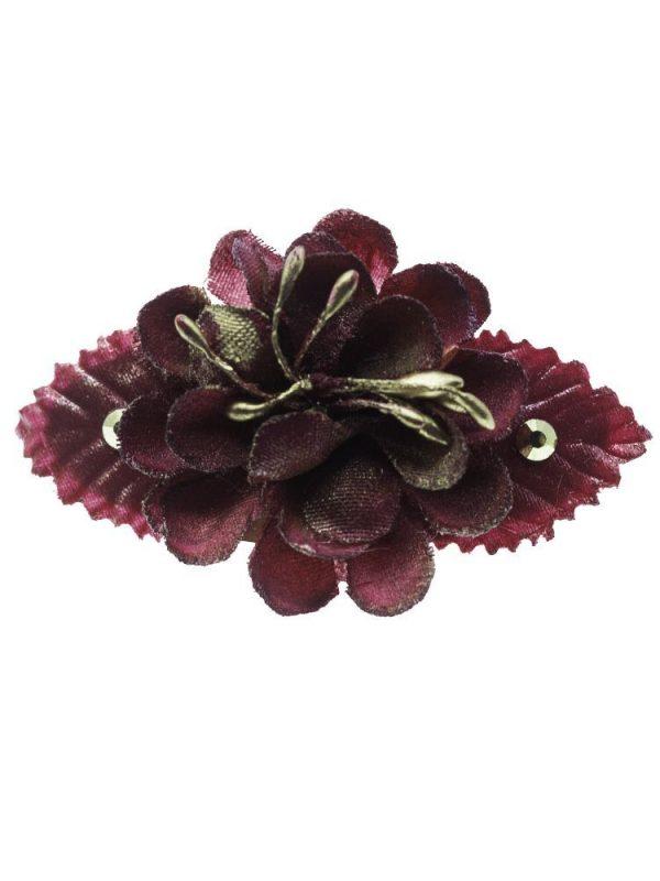 Broche de flamenca con flores de tela granate con reflejo dorado