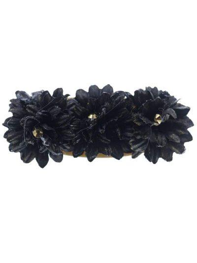 Broche de flamenca con flores de tela negra con reflejo dorado