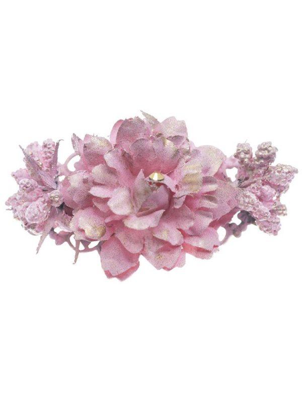Broche de flamenca con flores de tela rosa bebé con reflejo dorado