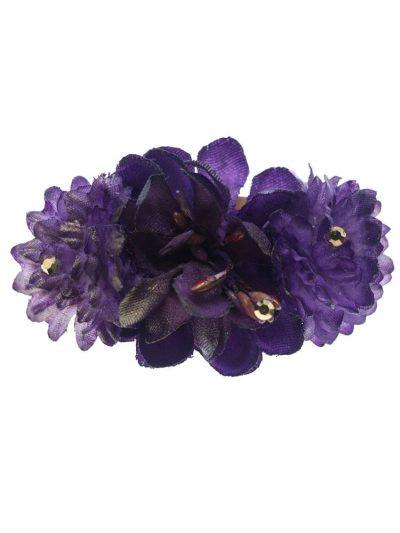 Broche de flamenca con flores de tela violeta con reflejo dorado