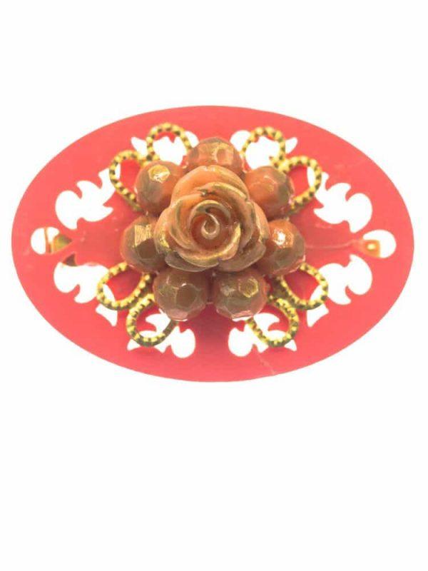 Broche de flamenca coralina con reflejos dorados