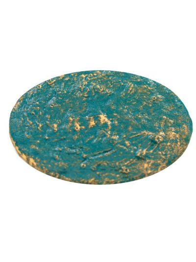 Flamenco broche cracked seawater with golden highlights