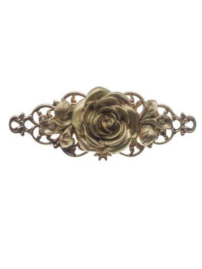 Broche de flamenca de flor resina en dorado