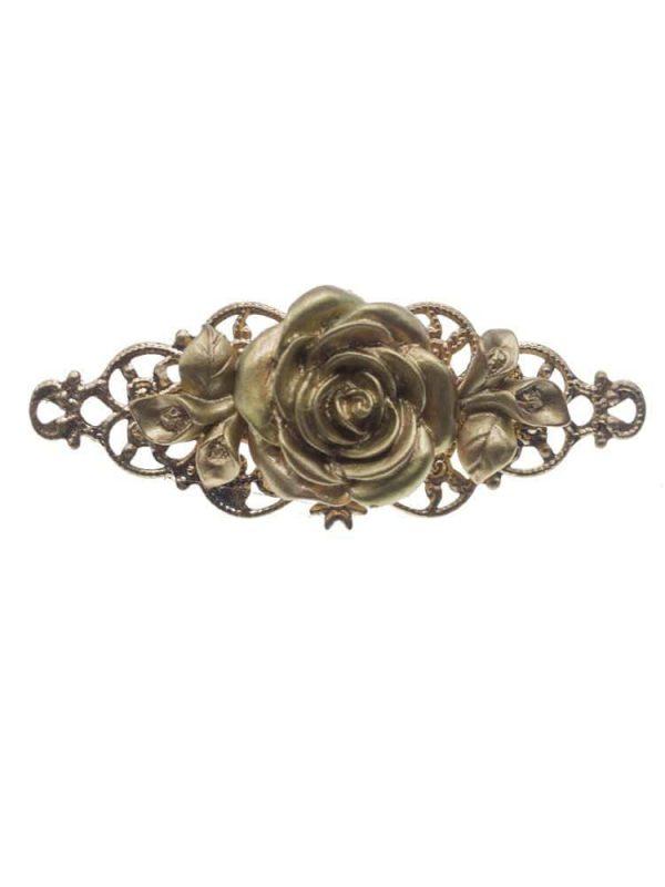 Resin flower flamenco brooch in gold
