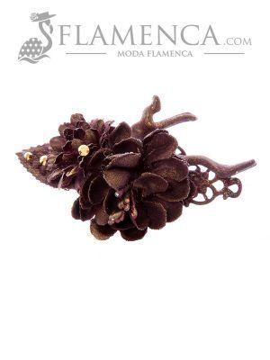 Broche de flamenca de flores de tela morado con reflejos oro