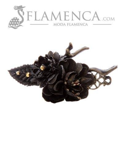 Broche de flamenca de flores de tela negro con reflejos oro