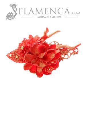 Broche de flamenca de flores de tela rojo con reflejos oro