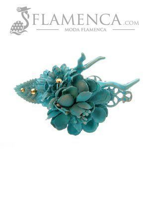 Broche de flamenca de flores de tela turquesa con reflejos oro
