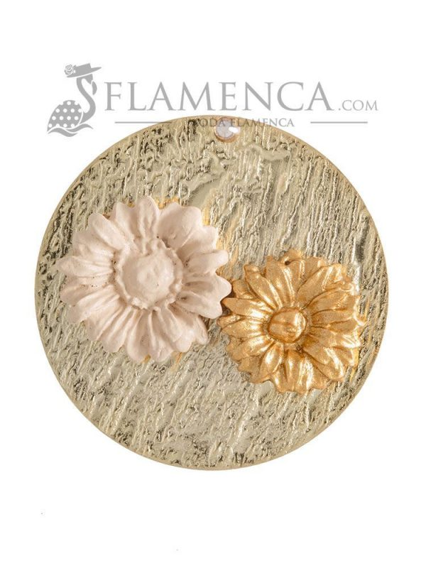 Broche de flamenca de porcelana beige y oro