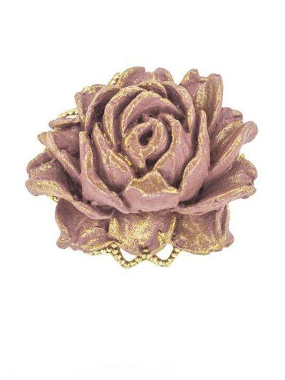 Broche de flamenca de porcelana burdeos con reflejos dorados