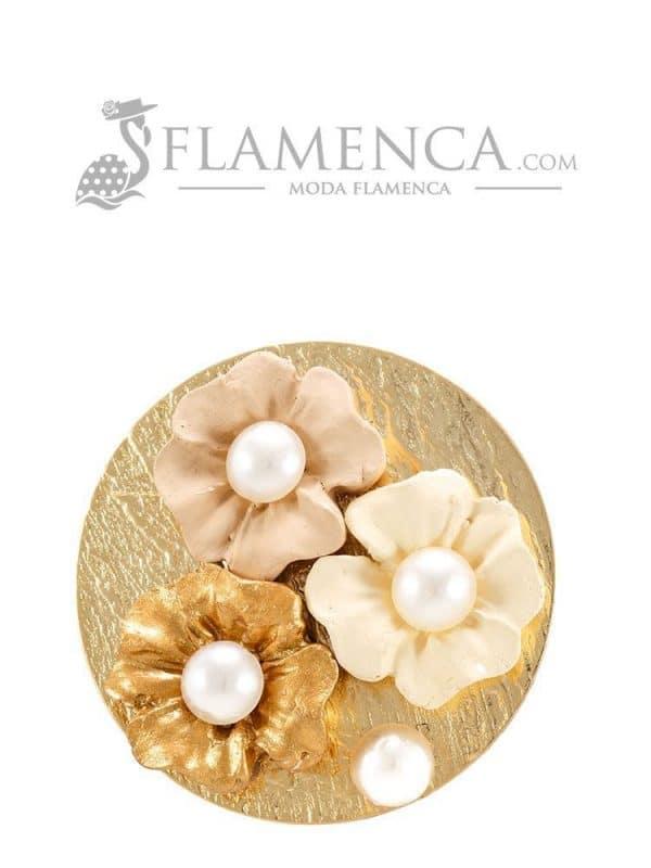 Broche de flamenca de porcelana en tonos beige degradé