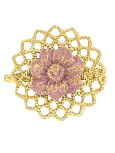 Broche de flamenca de porcelana lila antiguo con reflejos dorados