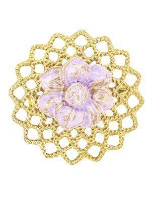 Broche de flamenca de porcelana lila con reflejos dorados