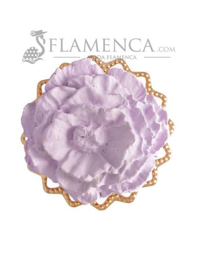 Broche de flamenca de porcelana malva