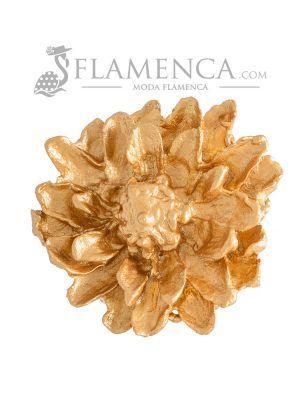 Broche de flamenca de porcelana oro