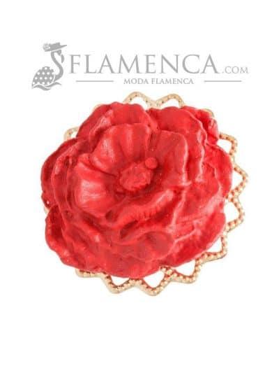 Broche de flamenca de porcelana rojo