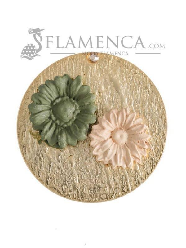 Broche de flamenca de porcelana verde antiguo y beige