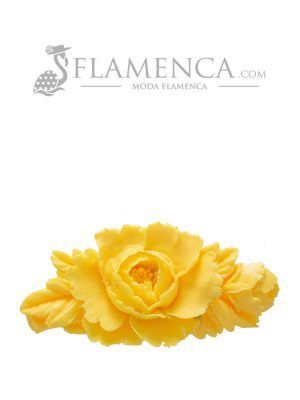 Broche de flamenca de resina amarillo