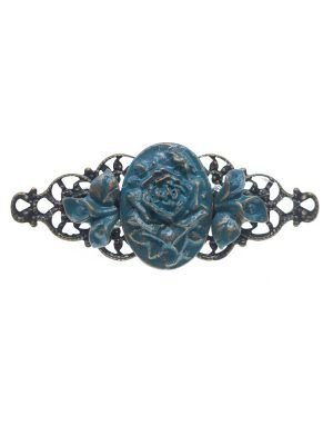Blue cyan resin flamenco brooch with gold highlights