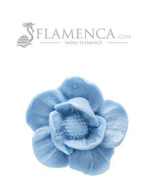 Broche de flamenca de resina azul ducado