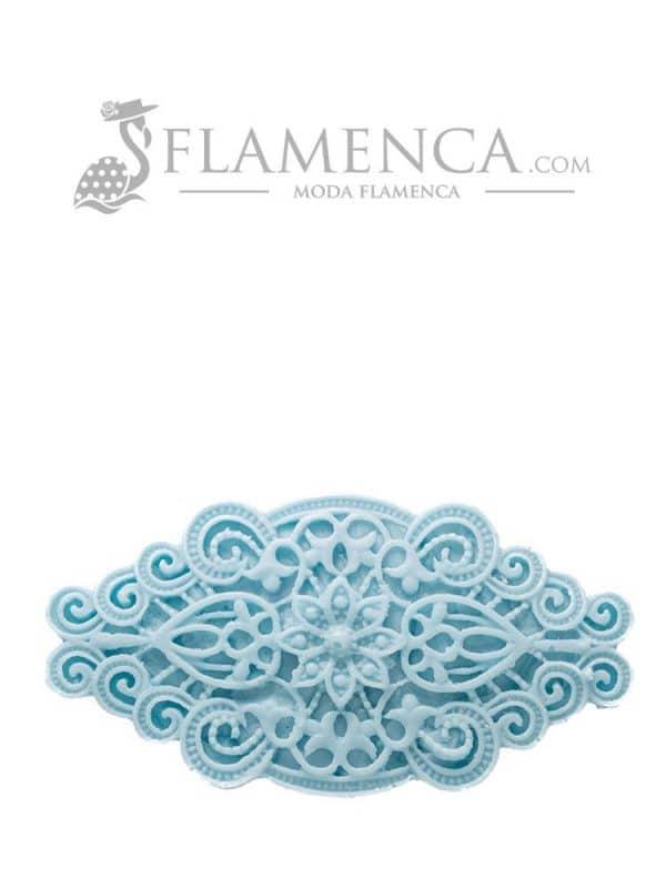 Broche de flamenca de resina celeste