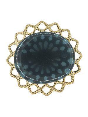 Broche de flamenca de resina cristal azul zafiro