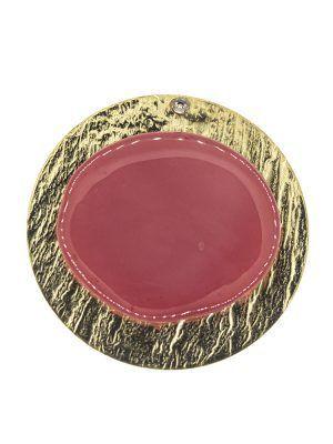 Broche de flamenca de resina cristal frambuesa