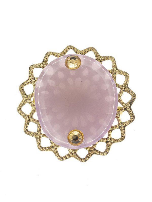 Broche de flamenca de resina cristal malva