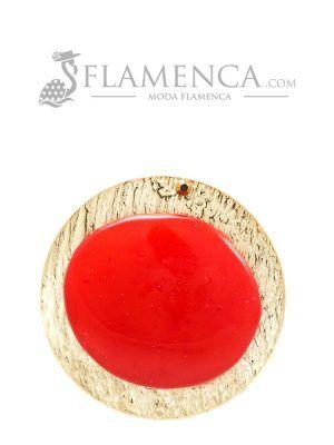 Broche de flamenca de resina cristal rojo