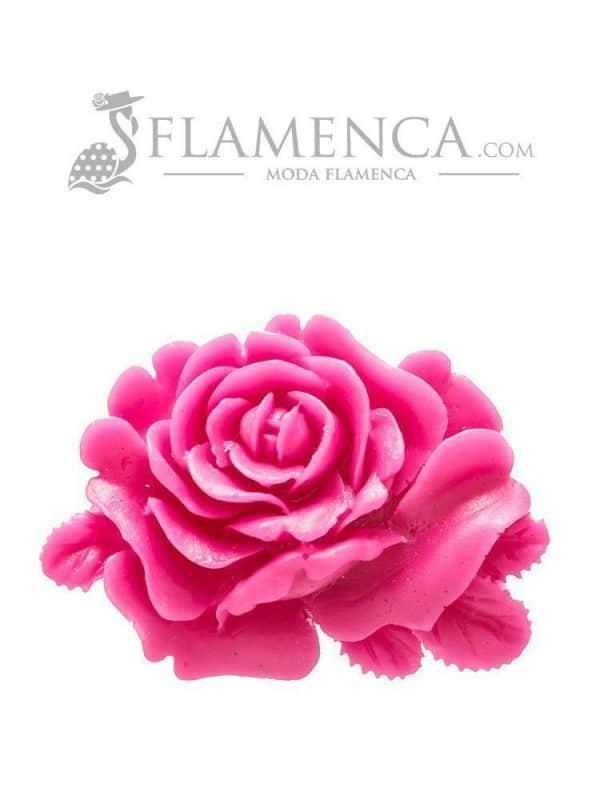 Broche de flamenca de resina frambuesa
