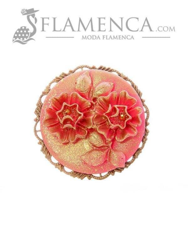 Broche de flamenca de resina fresa con reflejos oro