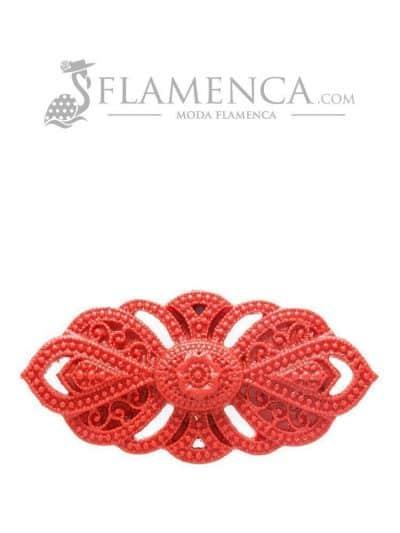 Broche de flamenca de resina granate