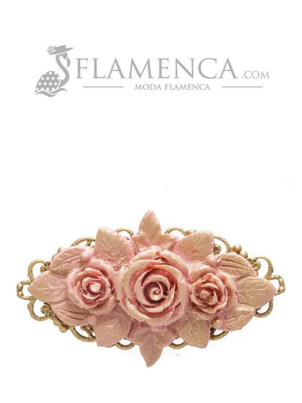Broche de flamenca de resina maquillaje con reflejos oro