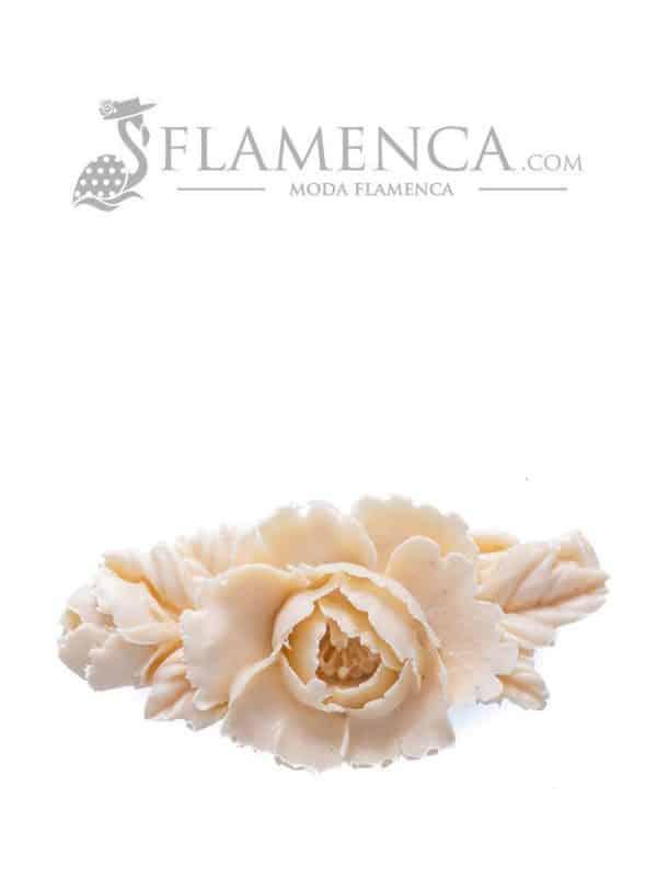 Broche de flamenca de resina marfil